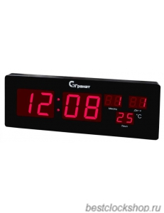Настенные кварцевые часы с большими цифрами ГРАНАТ/Granat С-2512T-Красн.