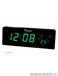 Настенные кварцевые часы с большими цифрами ГРАНАТ/Granat С-2512T-Зелен.